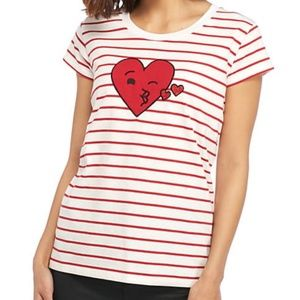 French Connection Red and White Heart Stripe Tee